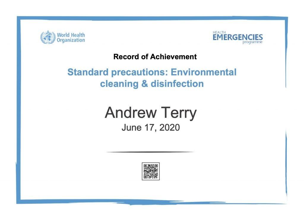 Covid-19 protocols certificate